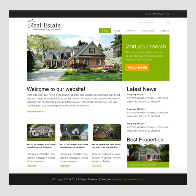 Real Estate Agent Clean And Effective Website Template Design Psd