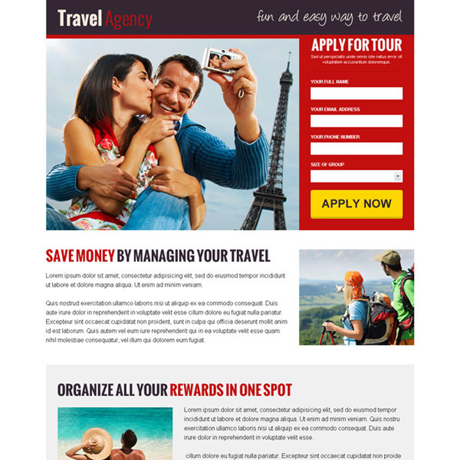 Travel lead capture landing page design