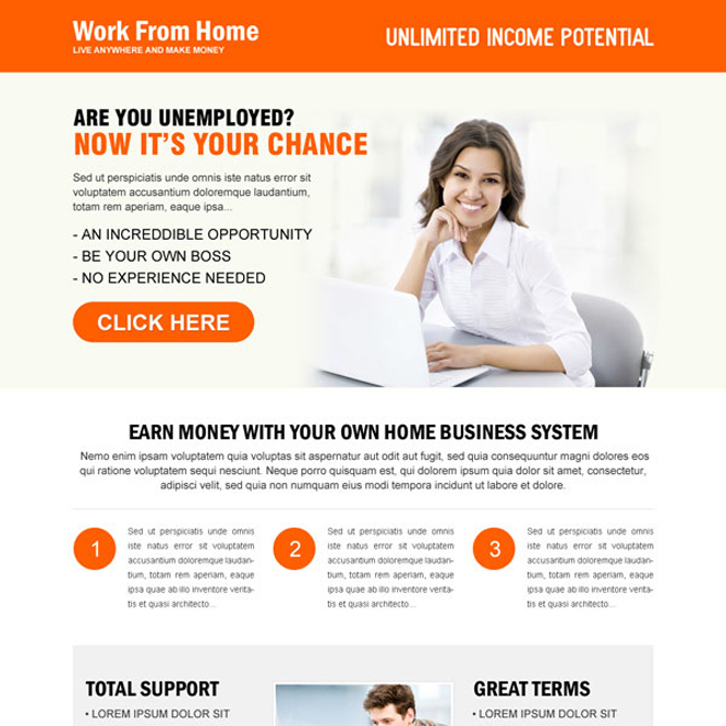 earn money with your own home based system attractive landing page design to maximize your leads Work from Home example