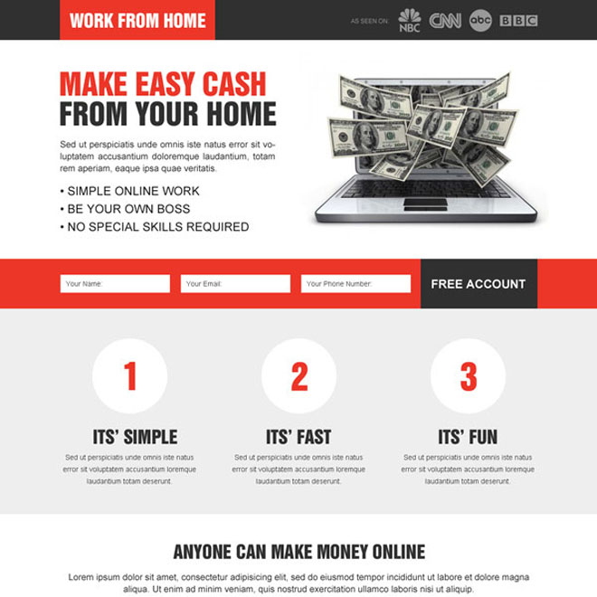 converting work from home responsive lead capture landing page design to increase conversion and response rate Work from Home example