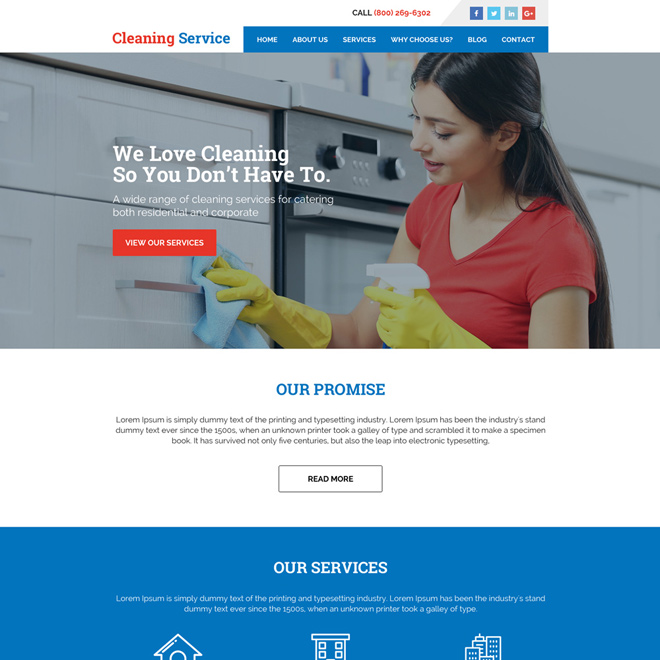 cleaning services minimal website design Cleaning Services example
