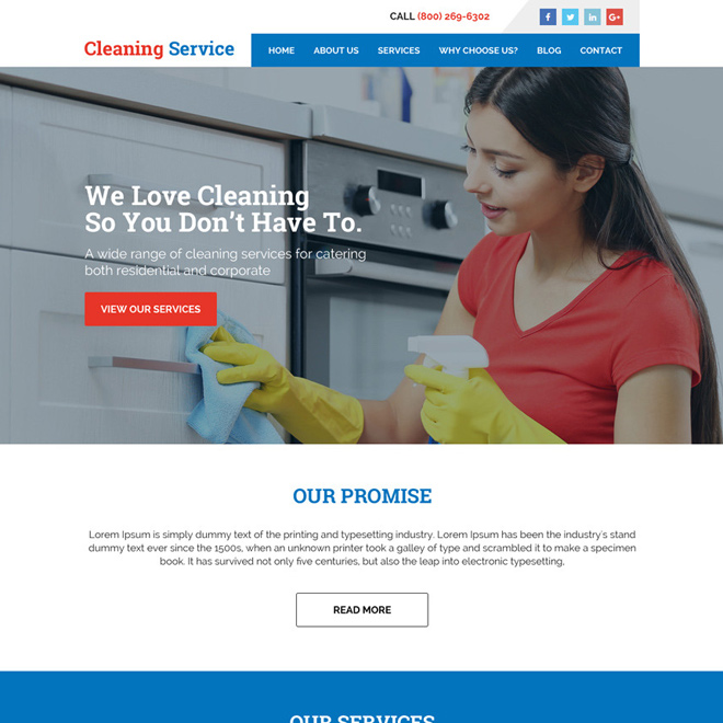 corporate and residential cleaning services responsive website design Cleaning Services example