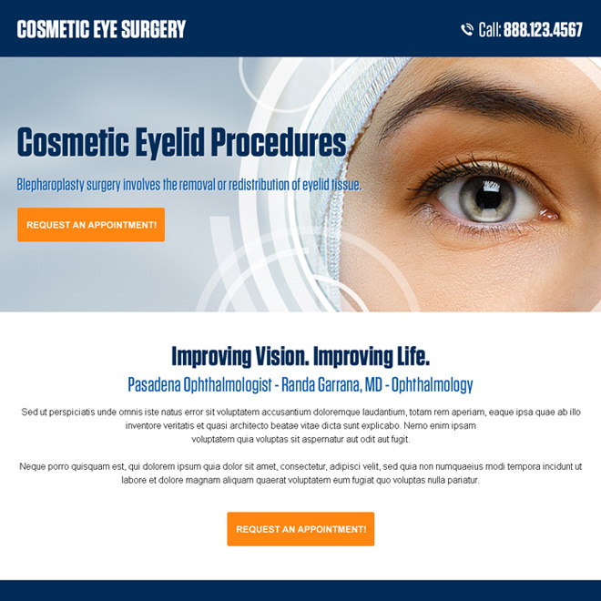 cosmetic eye surgery pay per click landing page design Cosmetic Surgery example