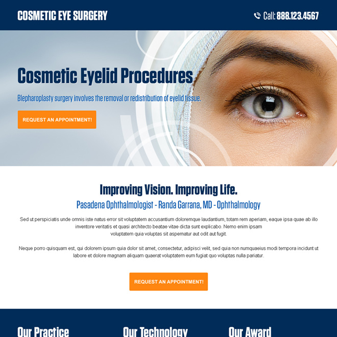 cosmetic eye surgery appointment booking responsive landing page Cosmetic Surgery example