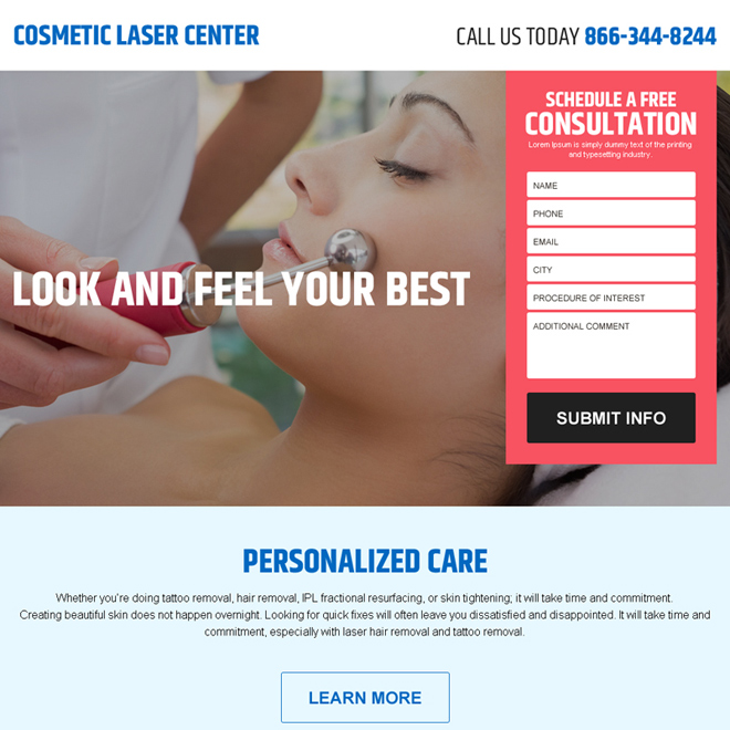 cosmetic laser surgery center lead gen landing page design Cosmetic Surgery example