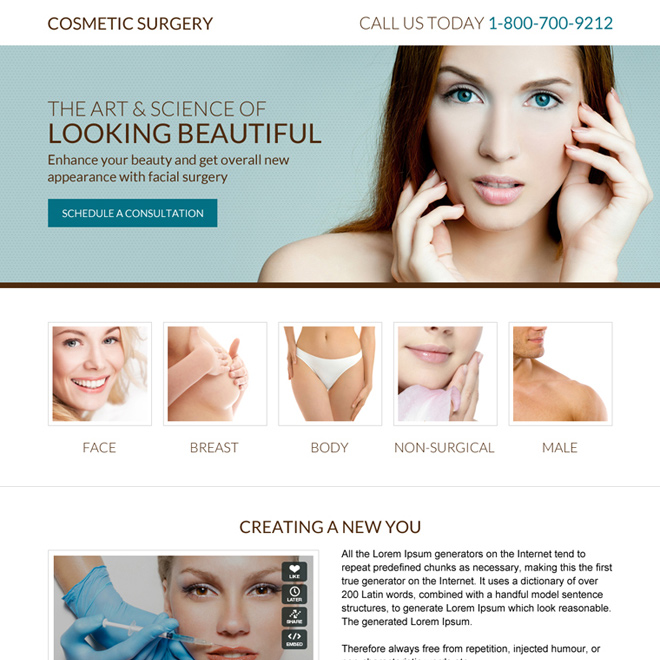 minimal cosmetic surgery responsive landing page Cosmetic Surgery example
