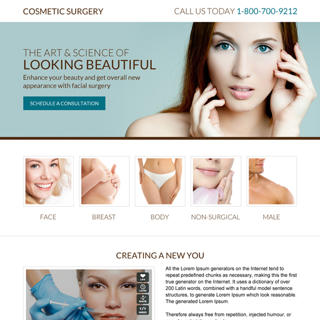 cosmetic surgery mini landing page design Cosmetic Surgery example