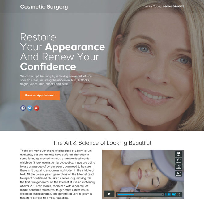 cosmetic surgery lead funnel responsive landing page Cosmetic Surgery example