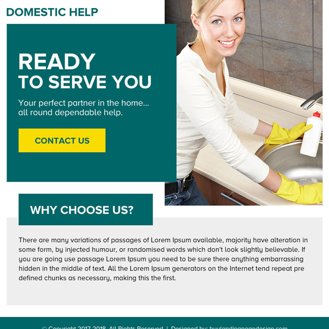 domestic help service minimal ppv landing page design Domestic Help example