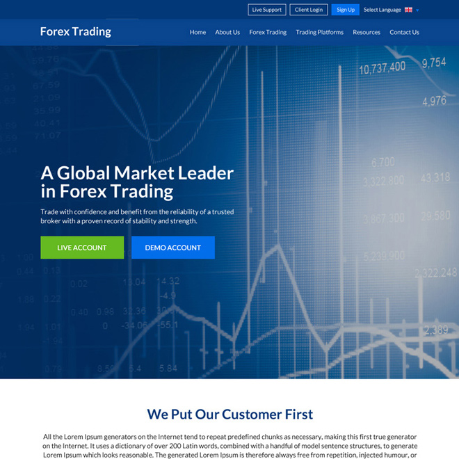 global market leader in forex trading responsive website design Forex Trading example