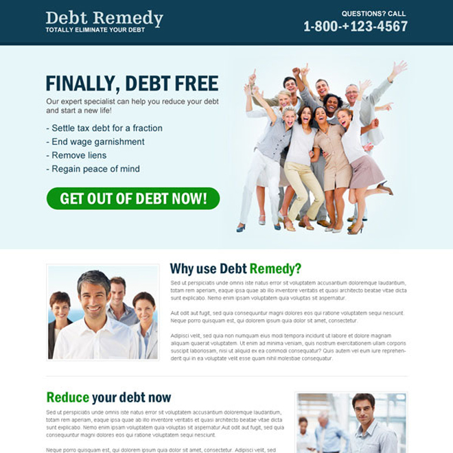 finally debt free converting and appealing call to action landing page design to maximize your business conversion Debt example