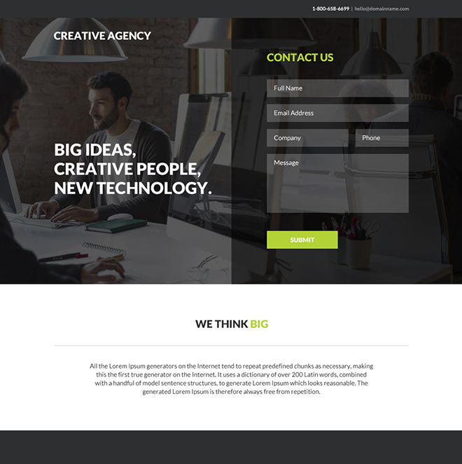 creative web design agency responsive landing page Web Design and Development example