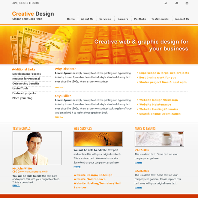 creative website design template psd for sale Website Template PSD example