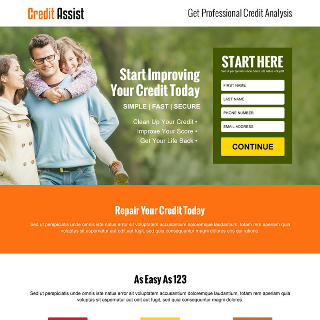 credit assist service small lead capture landing page design Credit Repair example