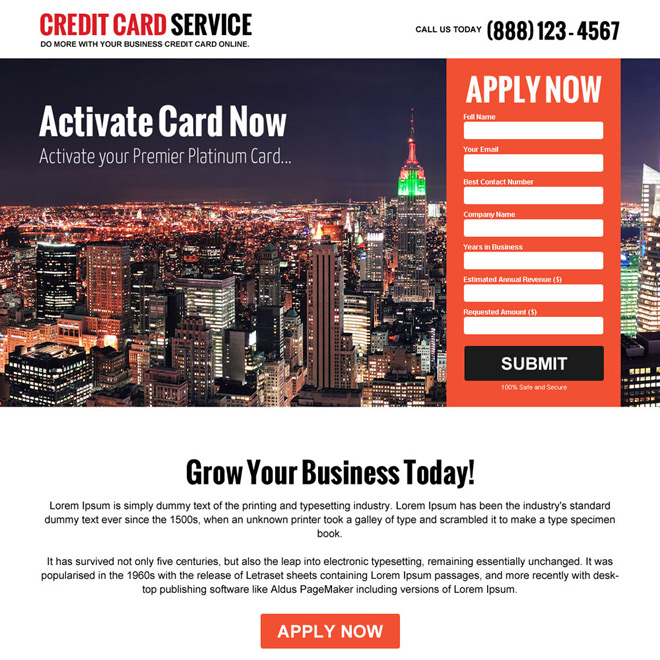 credit card company responsive landing page design Credit Card example