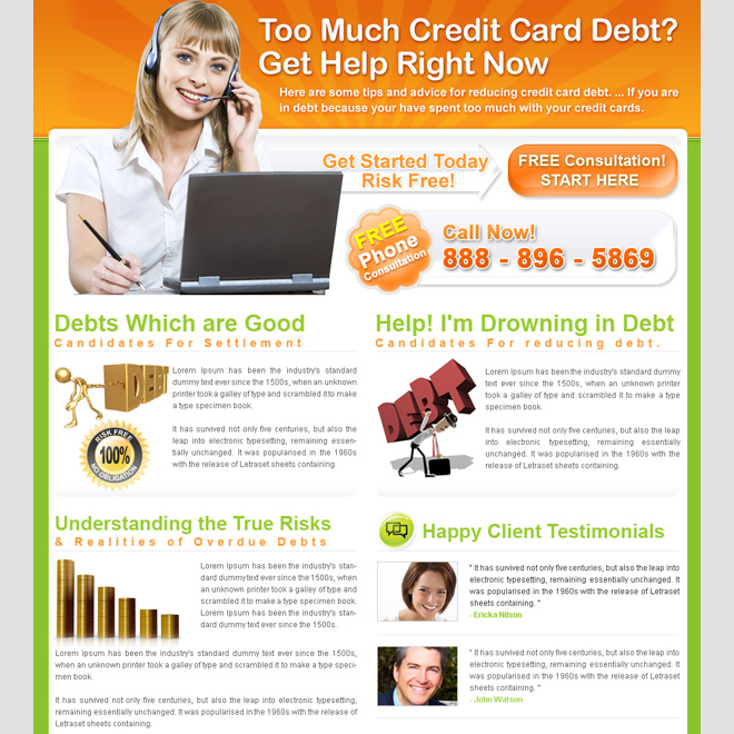 credit card debt free consultation landing page design for sale Landing Page Design example
