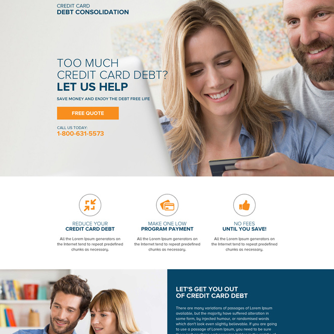 credit card debt consolidation mini landing page design Debt example