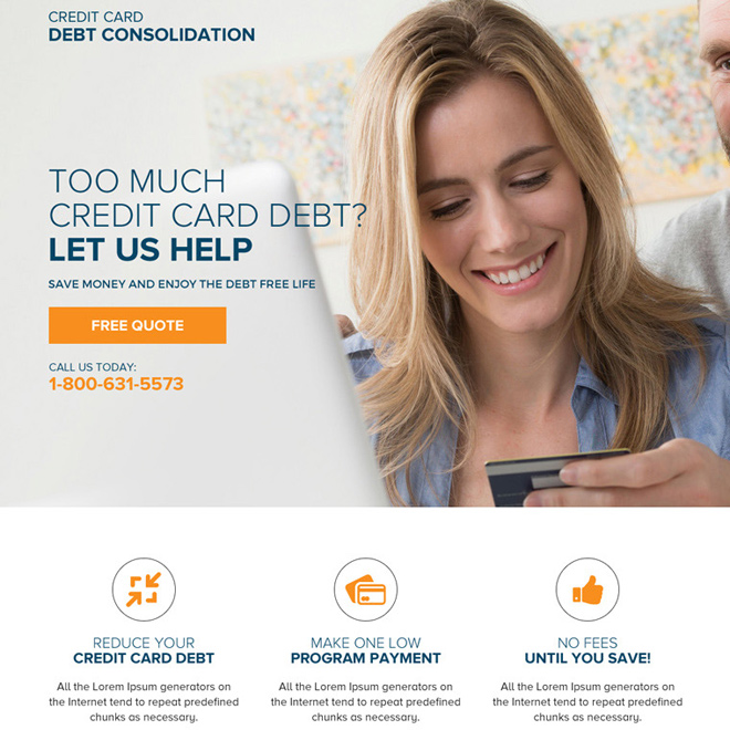 credit card debt consolidation responsive landing page design Debt example