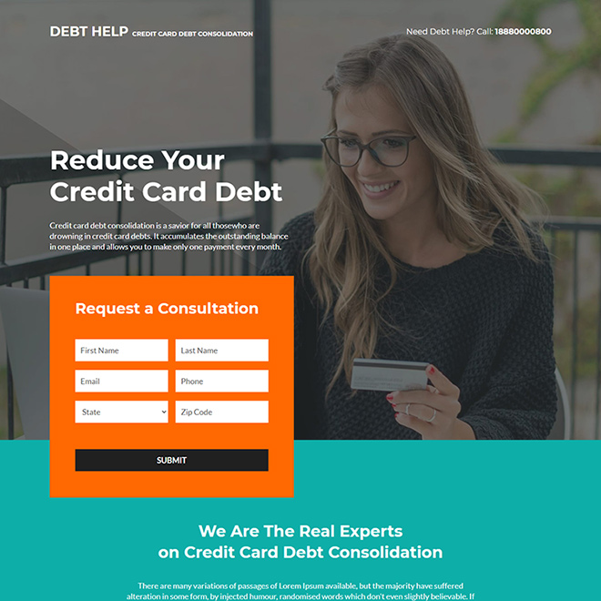 credit card debt consolidation responsive landing page Debt example