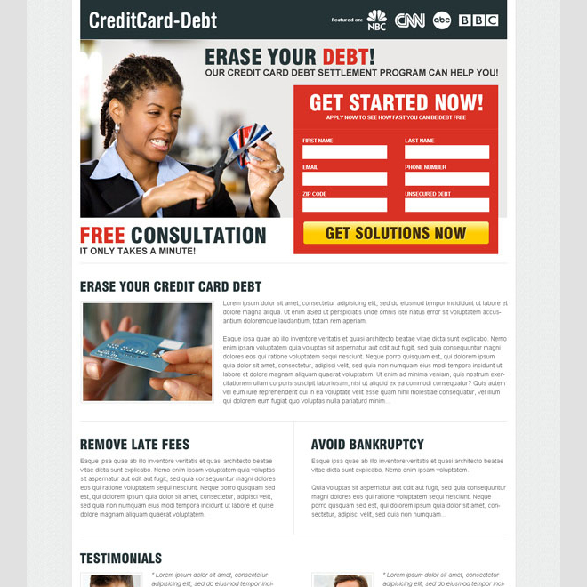 erase your debt 2 column attractive landing page design to maximize and boost your conversion Debt example