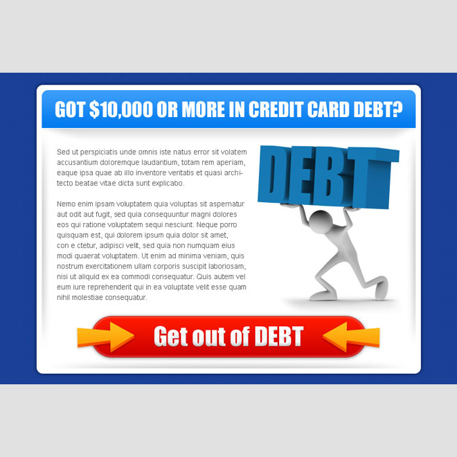 get out of debt clean and attractive credit card debt ppv landing page design Debt example