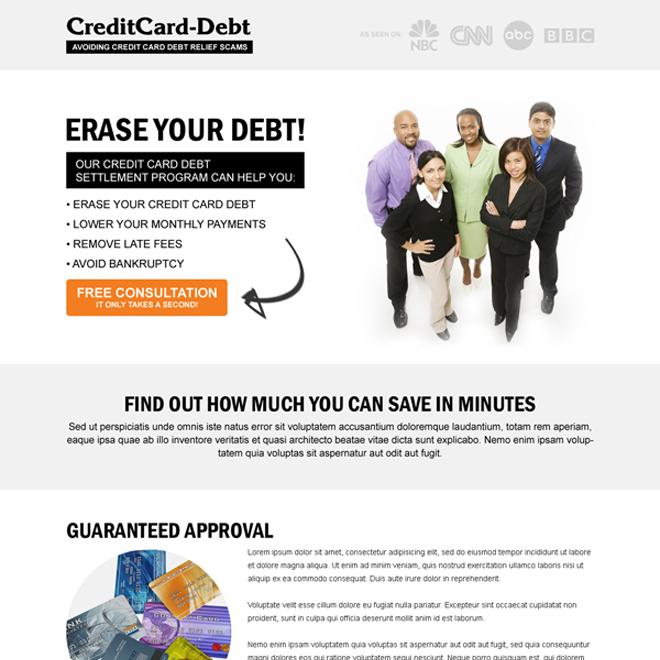 credit card debt responsive landing page design templates Debt example