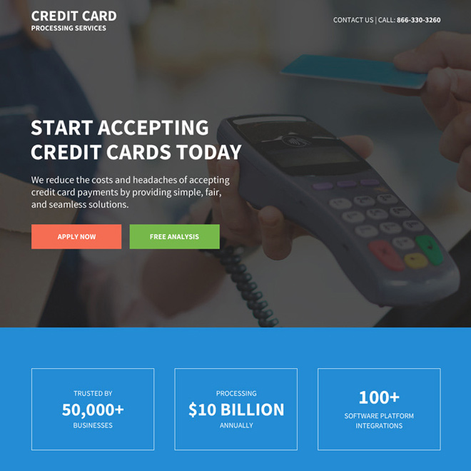 credit card processing services responsive landing page Credit Card example