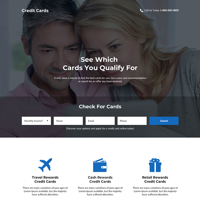 credit card service lead generating landing page Credit Card example