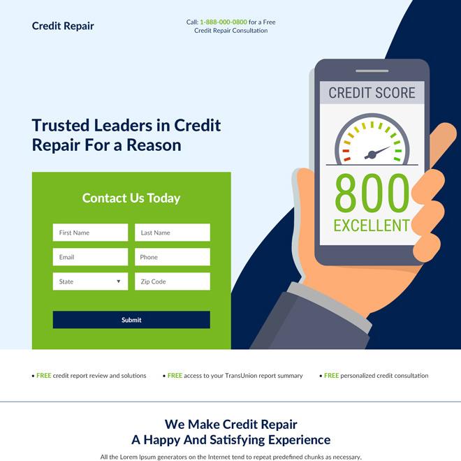 credit repair consultation best landing page design Credit Repair example