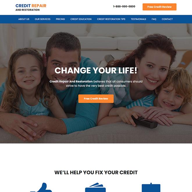 credit repair and restoration service responsive website design Credit Repair example
