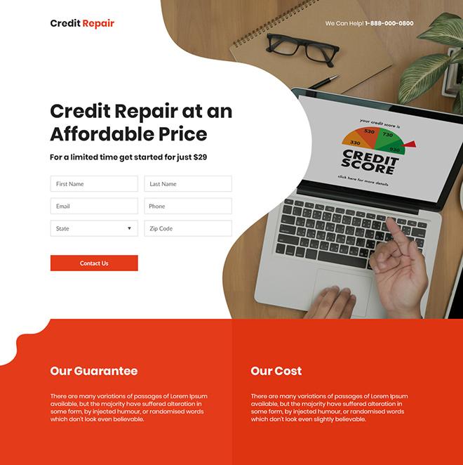 credit repair agency lead capture responsive landing page design Credit Repair example