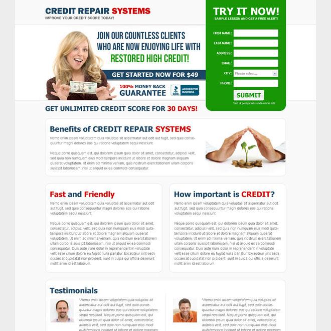 credit repair system clean and converting landing page design Credit Repair example