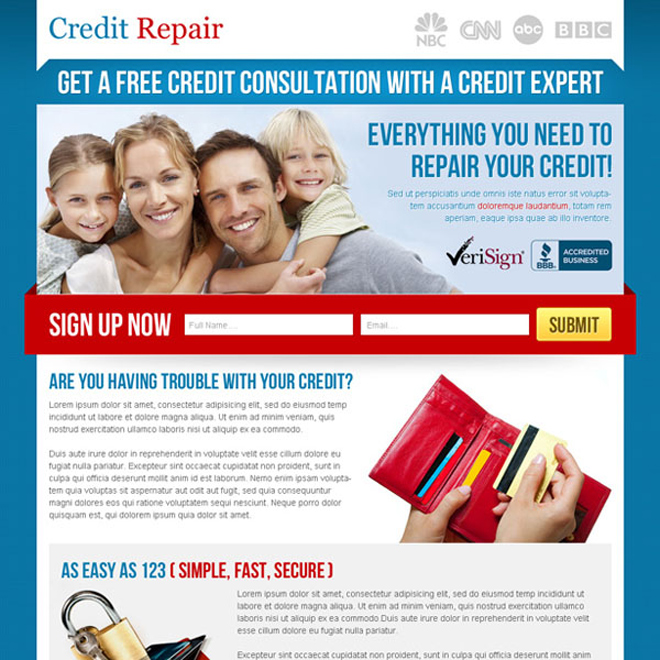 free credit consultation lead capture lander design Credit Repair example