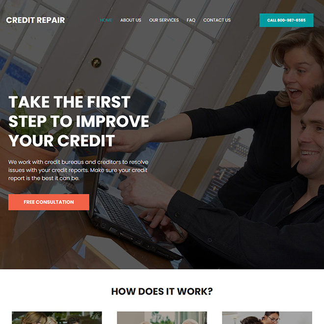credit repair and monitoring service website design Credit Repair example