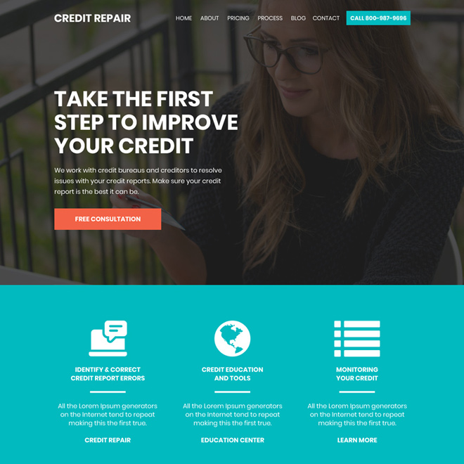 credit repair company free consultation lead capturing landing page Credit Repair example