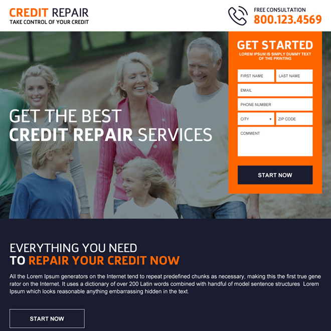 credit repair consultation lead capture landing page design Credit Repair example