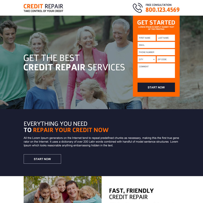 Best credit repair services lead generating landing page