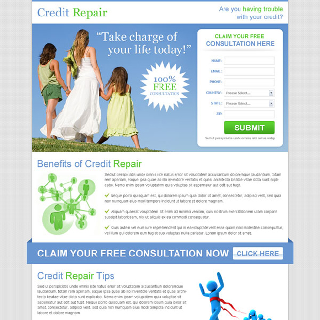 free credit repair consultation clean lead capture landing page Credit Repair example