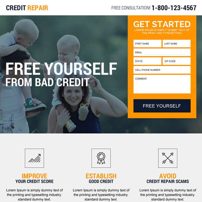 credit repair experts free consultation landing page design Credit Repair example