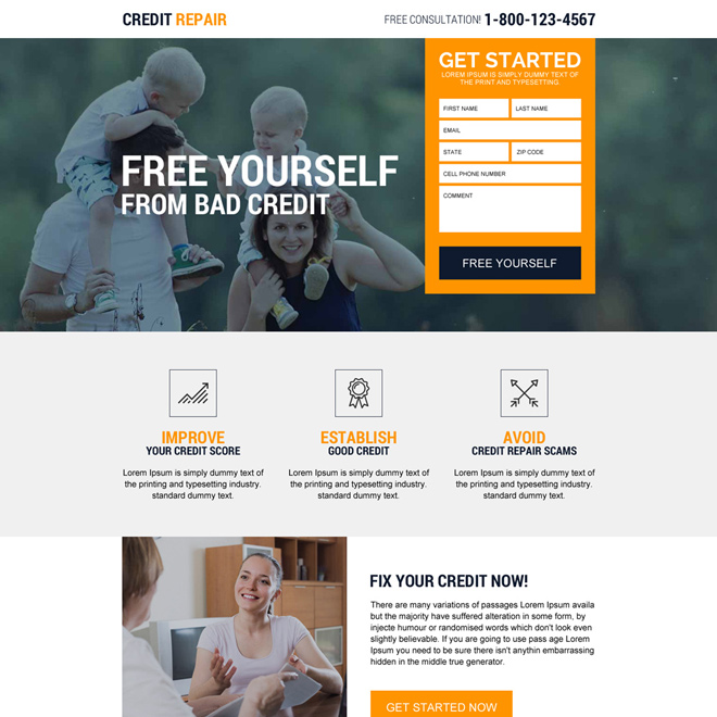 responsive credit repair free consultation lead generating landing page Credit Repair example