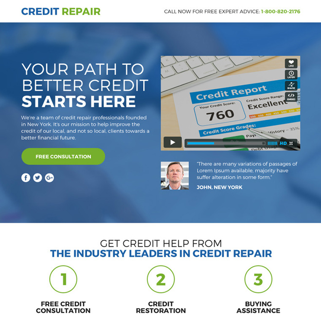 credit repair video funnel landing page design