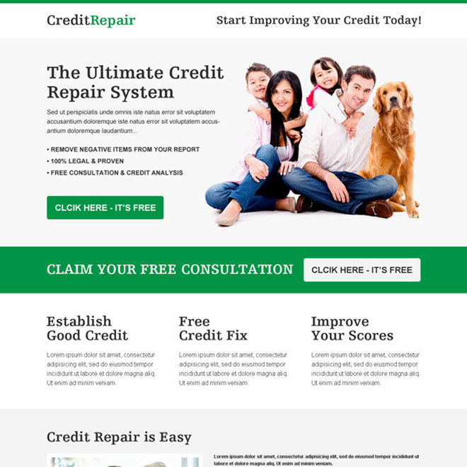 the ultimate credit repair clean and converting responsive call to action landing page Credit Repair example