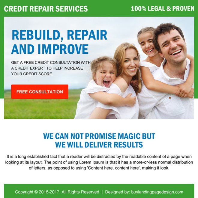 credit repair free consultation ppv landing page design Credit Repair example