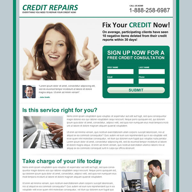 fix your credit now attractive and effective lead capture squeeze page design Credit Repair example