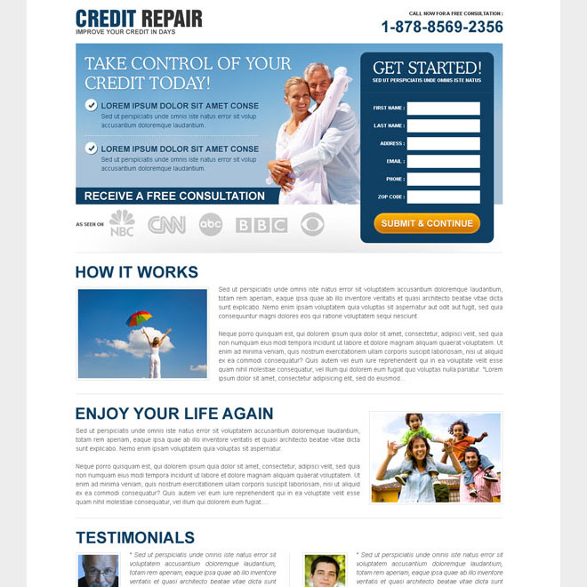 take control of your credit today free consultation lead gen squeeze design Credit Repair example