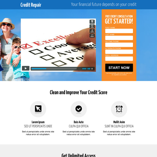 credit repair lead gen responsive video landing page design Credit Repair example