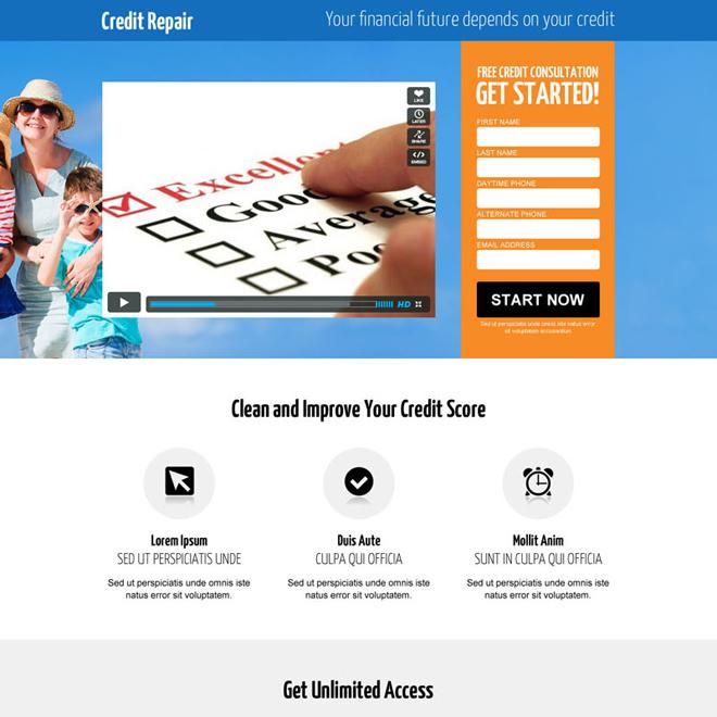 credit repair lead generating video landing page Credit Repair example