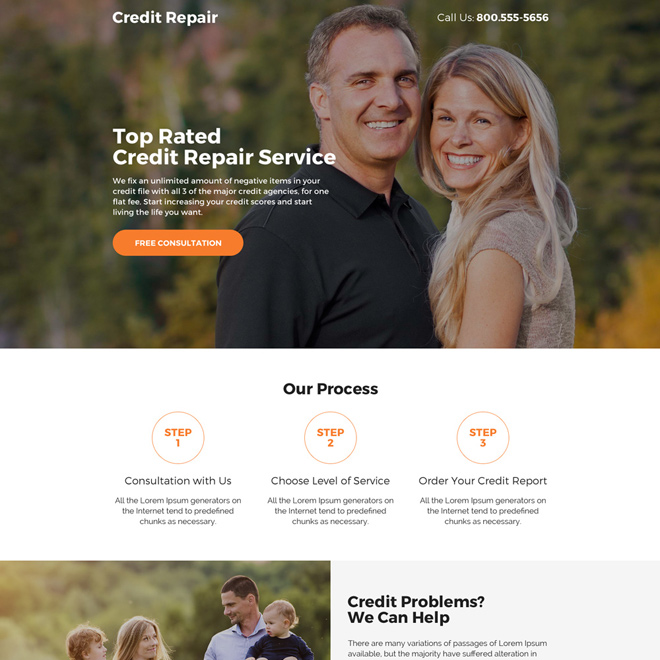 credit repair free consultation lead capturing mini landing page design Credit Repair example