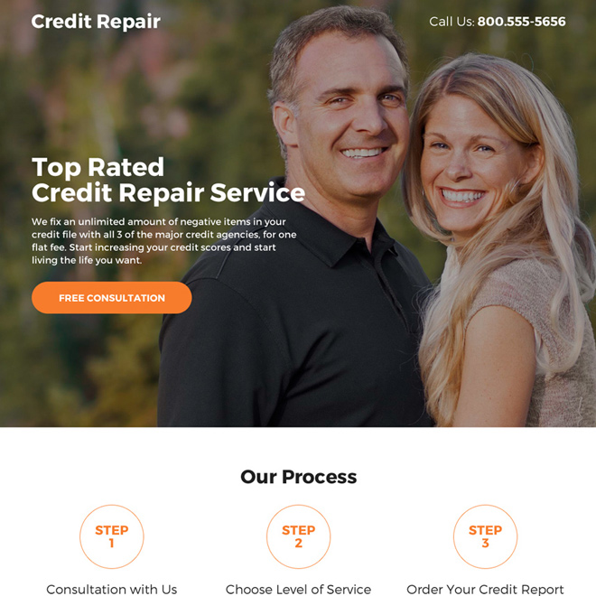 credit repair service call to action responsive landing page Credit Repair example