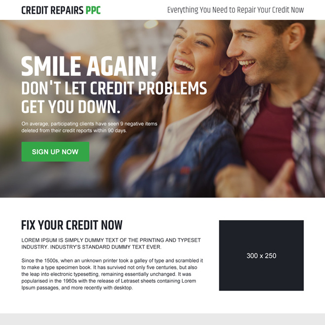 credit repair pay per click sign up lead generating responsive landing page Credit Repair example